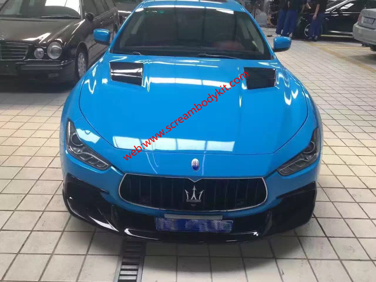Maserati Ghibli update carbon fiber body kit ASPEC front lip after lip side skirts wing