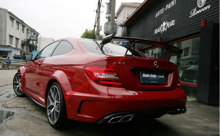 BenzW204C63507 black series wide body kit front bumper after bumper side skirts spoiler fenders hood