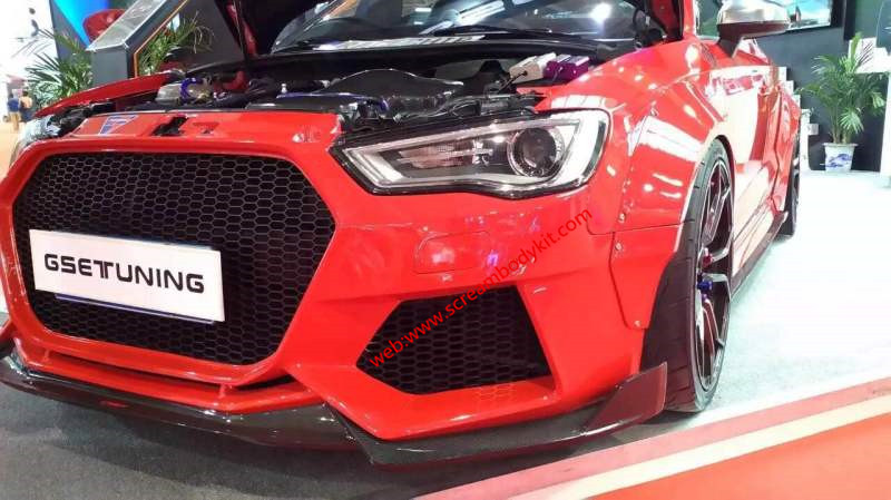 Audi S3 update wide body kit front lip or after lip side skirts carbon Fiber
