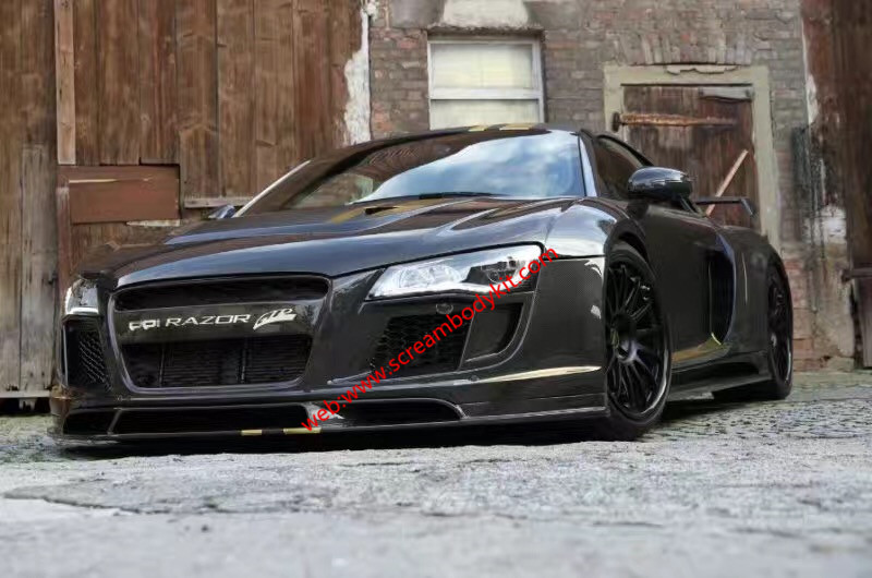Audi R8 update PPI wide body kit front bumper after bumper wing hood fenders