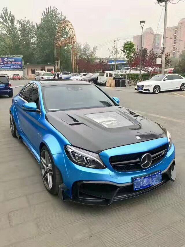 Mercedes-BenW205 C63/C63S SEDAN body kit front bumper after bumper side skirts hood fenders spoiler