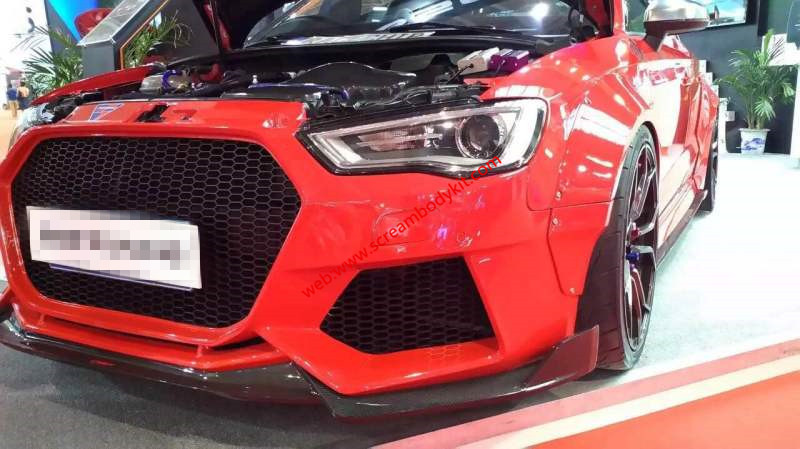 Audi A3 S3 RS3 wide body kit kit front lip after lip side skirts