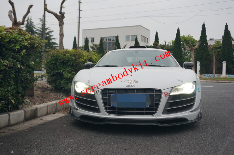 Audi R8 body kit front lip after lip side skirts spoiler ROWER carbon fiber