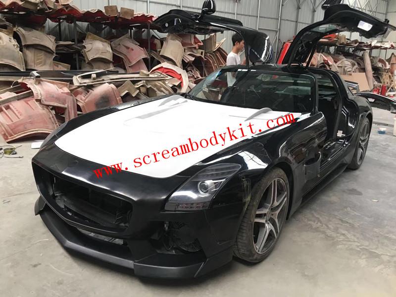 Mercedes-Ben SLS amg update MISHA wide body kit front bumper after bumper side skirts hood