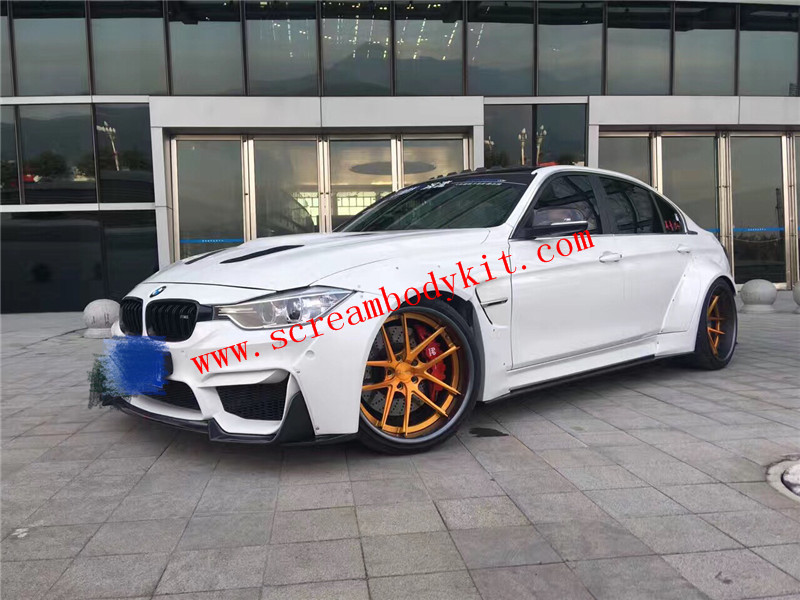 BMW F30 F35 update half carbon fiber wide body kit front bumper and after bumper and side skirts hood spoiler another
