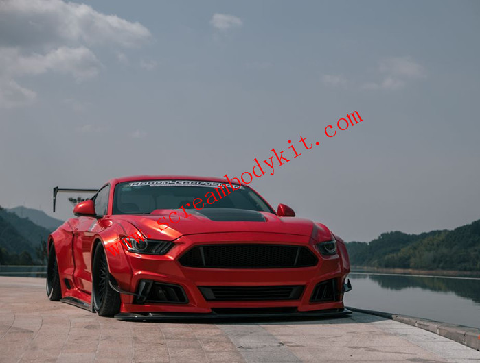 15-17 Mustang 2.3T 5.0l update two type.2 wide body kit front bumper after lip hood side skirts fenders spoiler
