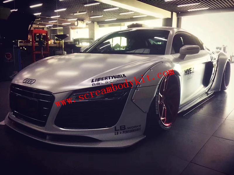 Audi R8 update LB wide body kit front lip after lip wing  fenders