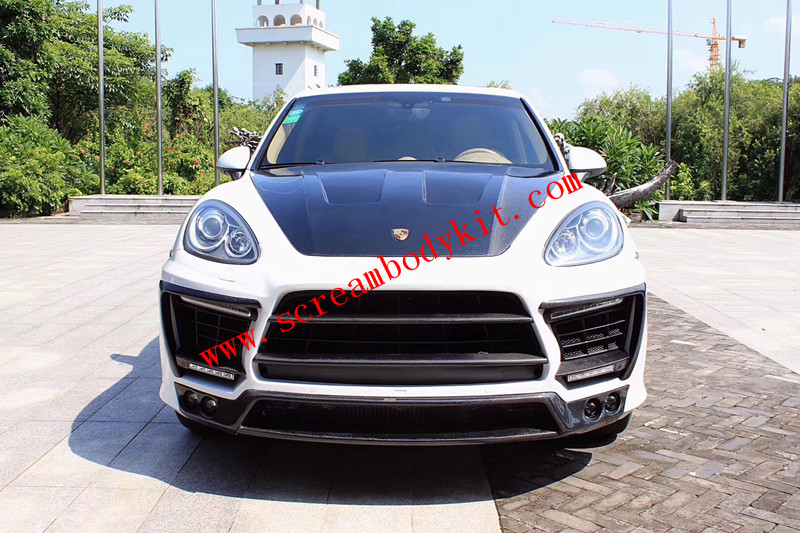 Porsche cayenne 958.1 update LUMMA wide body kit front bumper after bumper side skirts hood wing