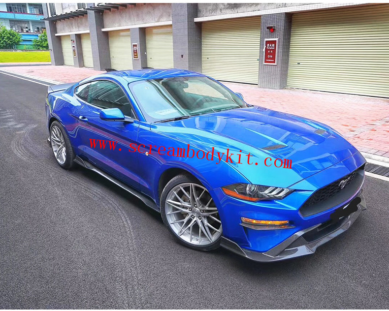 18 mustang wide body kit type.3 carbon fiber front lip after lip side skirts hood  fenders spoiler