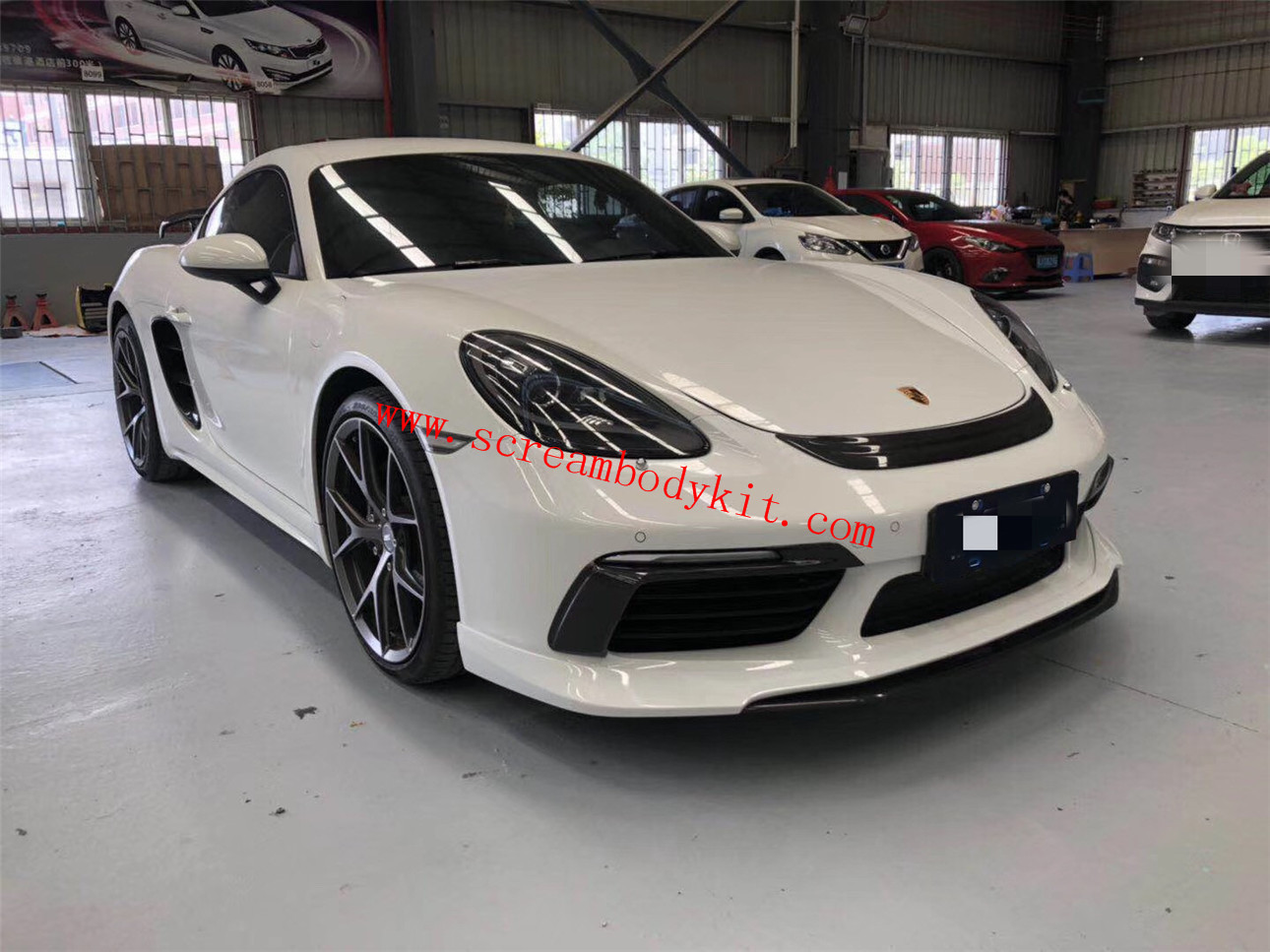 Porsche 718 Cayman boxster update techart Carbon Fiber body kit front lip after lip side skirts spoiler