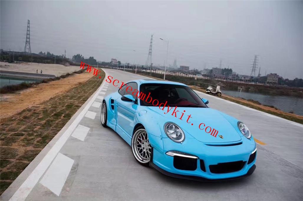 05-12 Porsche 911 997 update 911 991GT3 wide body kit front bumper after bumper spoiler