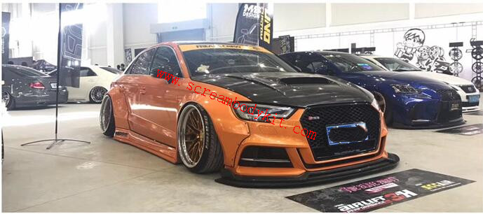 Audi A3/S3 wide body kit front lip wide fenders side skirts spoiler