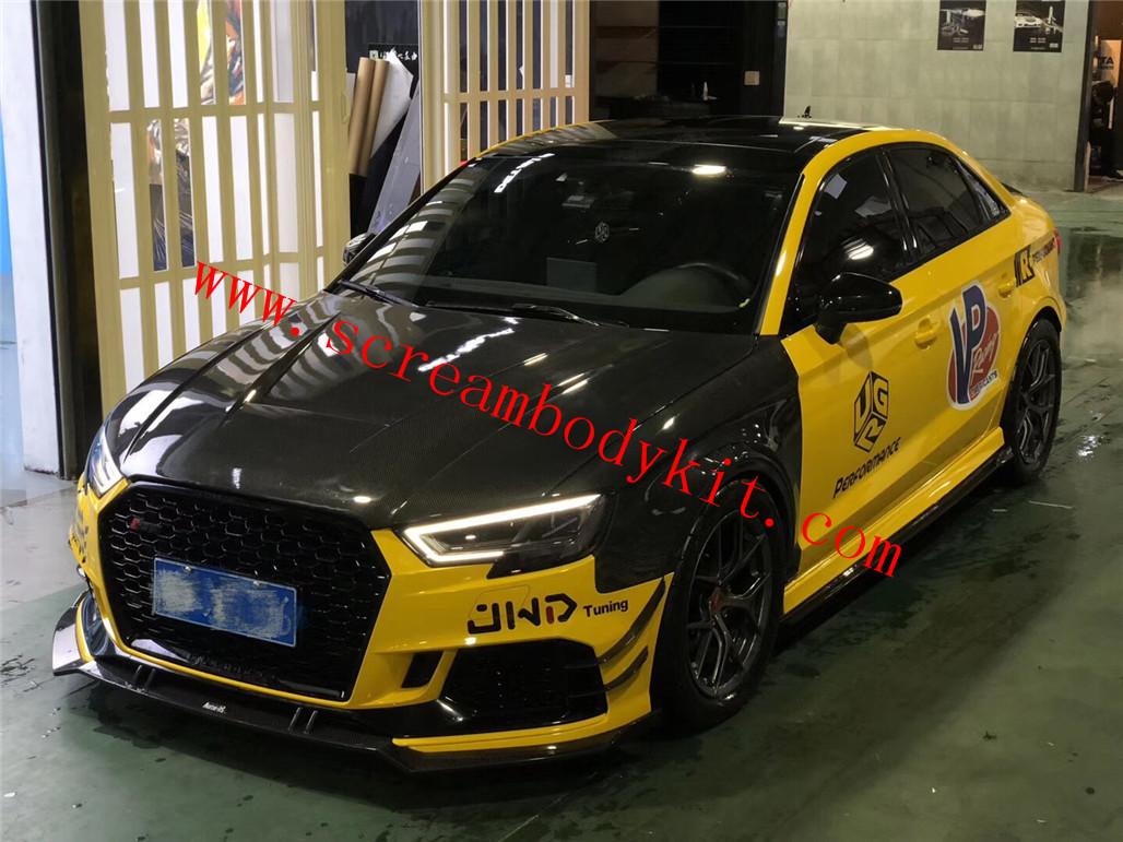 17-18 Audi RS3 body kit front lip rear lip side skirts fenders hood dry carbon fiber
