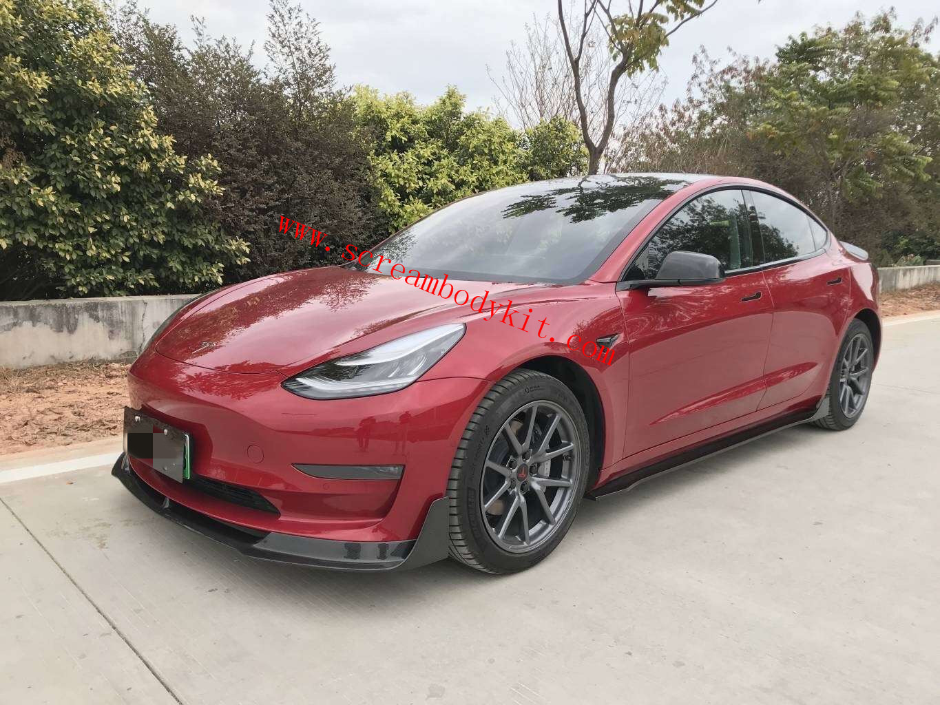16-19 Tesla Model 3  front lip side skirts spoiler rear lip dry carbon fiber