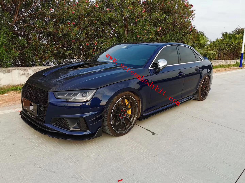 Audi S4 dry carbon fiber front lip rear lip side skirts spoiler