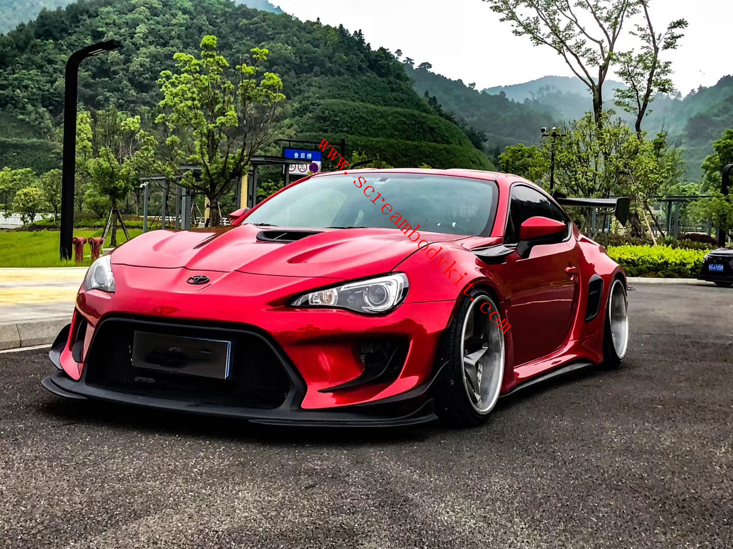 Toyota GT86 BRZ wide body kit front bumper side skirts rear bumper wide fenders hood spoiler