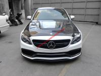 Benz W205 C63 sedan update carbon fiber body kit front lip after lip hood spoiler