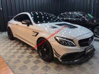 BENZ w205 C63 AMG Coupe update Carbon Fiber hood and brabus front lip side skirts after lip hood