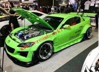 Mazda RX8 update Rocket Bunny wide body kit front lip after side skirts spoiler